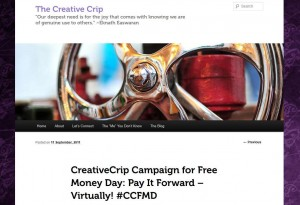 The CreativeCrip's website promotion for freemoneyday